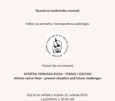 Obavijest o simpoziju Afrička svinjska kuga – stanje i izazovi