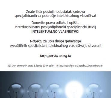 Natječaj za upis na poslijediplomski studij Intelektualno vlasništvo