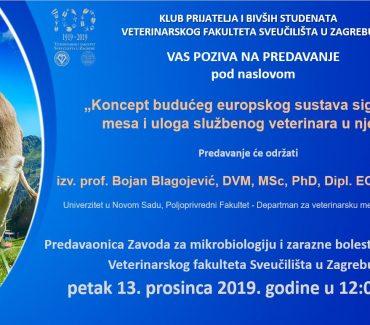 """PREDAVANJE: """"Koncept budućeg europskog sustava sigurnosti mesa i uloga službenog veterinara u njemu"""""""