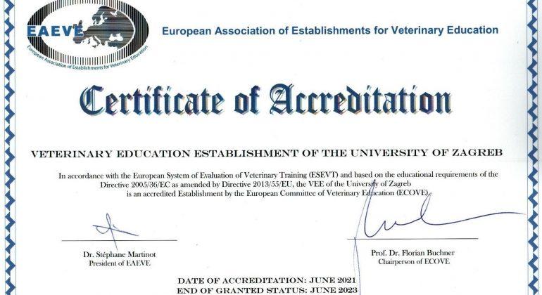 EAEVE accreditation of the Faculty of Veterinary medicine Zagreb
